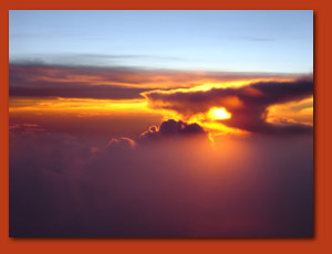 Gulf of Mexico sunset from 39,000 feet.